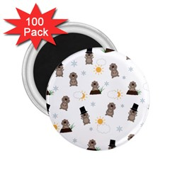 Groundhog Day Pattern 2 25  Magnets (100 Pack)  by Valentinaart