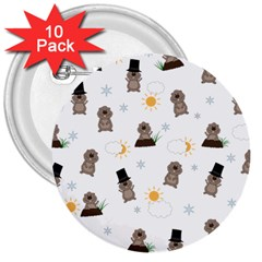 Groundhog Day Pattern 3  Buttons (10 Pack)  by Valentinaart