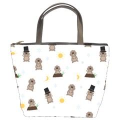 Groundhog Day Pattern Bucket Bags by Valentinaart