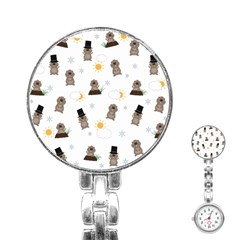 Groundhog Day Pattern Stainless Steel Nurses Watch by Valentinaart