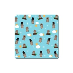 Groundhog Day Pattern Square Magnet by Valentinaart
