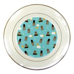 Groundhog Day Pattern Porcelain Plates by Valentinaart