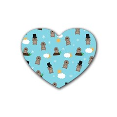 Groundhog Day Pattern Rubber Coaster (heart)  by Valentinaart