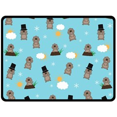 Groundhog Day Pattern Double Sided Fleece Blanket (large)  by Valentinaart