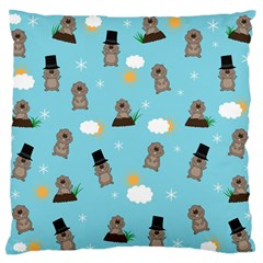 Groundhog Day Pattern Large Flano Cushion Case (one Side) by Valentinaart