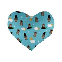 Groundhog Day Pattern Standard 16  Premium Flano Heart Shape Cushions by Valentinaart