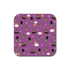 Groundhog Day Pattern Rubber Square Coaster (4 Pack)  by Valentinaart