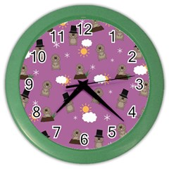 Groundhog Day Pattern Color Wall Clocks by Valentinaart