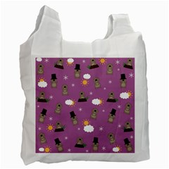 Groundhog Day Pattern Recycle Bag (one Side) by Valentinaart