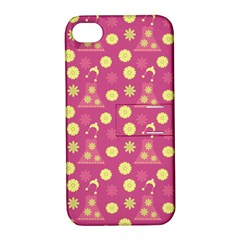 Yellow Flowers Dress Apple Iphone 4/4s Hardshell Case With Stand