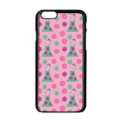 Green Dress Pink Apple Iphone 6/6s Black Enamel Case by snowwhitegirl