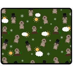 Groundhog Day Pattern Fleece Blanket (medium)  by Valentinaart