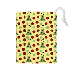 Green Dress Yellow Drawstring Pouches (large)  by snowwhitegirl
