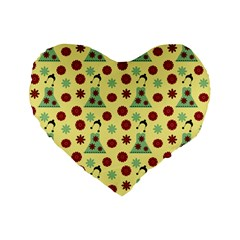 Green Dress Yellow Standard 16  Premium Flano Heart Shape Cushions by snowwhitegirl