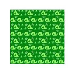 Green Sea Whales Small Satin Scarf (square) by snowwhitegirl