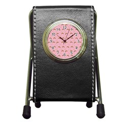 Pink Beige Hats Pen Holder Desk Clocks by snowwhitegirl