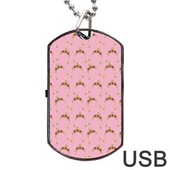 Pink Beige Hats Dog Tag Usb Flash (two Sides) by snowwhitegirl