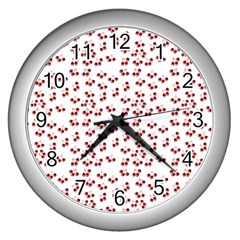 Red Cherries Wall Clocks (silver)  by snowwhitegirl