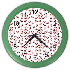 Red Cherries Color Wall Clocks by snowwhitegirl