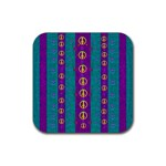Peace Be With Us This Wonderful Year In True Love Rubber Square Coaster (4 pack)  Front