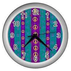 Peace Be With Us This Wonderful Year In True Love Wall Clocks (silver)  by pepitasart