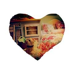 Cream Dollhouse Standard 16  Premium Heart Shape Cushions by snowwhitegirl