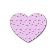 Blue Pink Hearts Rubber Coaster (heart)  by snowwhitegirl