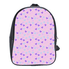 Blue Pink Hearts School Bag (large) by snowwhitegirl
