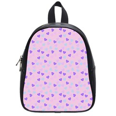 Blue Pink Hearts School Bag (small) by snowwhitegirl