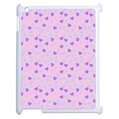 Blue Pink Hearts Apple Ipad 2 Case (white) by snowwhitegirl