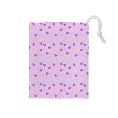 Blue Pink Hearts Drawstring Pouches (medium)