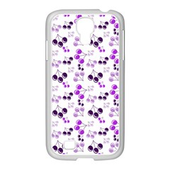 Purple Cherries Samsung Galaxy S4 I9500/ I9505 Case (white) by snowwhitegirl