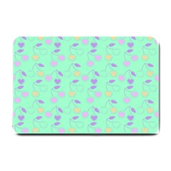 Mint Heart Cherries Small Doormat  by snowwhitegirl
