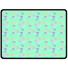 Mint Heart Cherries Fleece Blanket (large)  by snowwhitegirl