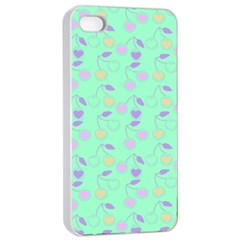 Mint Heart Cherries Apple Iphone 4/4s Seamless Case (white) by snowwhitegirl