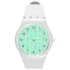 Mint Heart Cherries Round Plastic Sport Watch (m) by snowwhitegirl