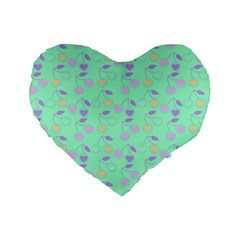 Mint Heart Cherries Standard 16  Premium Flano Heart Shape Cushions by snowwhitegirl