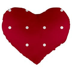 Red Dot Large 19  Premium Flano Heart Shape Cushions by snowwhitegirl