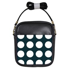 Big Dot Teal Blue Girls Sling Bags by snowwhitegirl