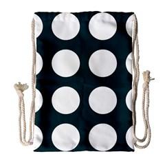 Big Dot Teal Blue Drawstring Bag (large)