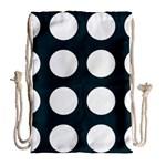 Big Dot Teal Blue Drawstring Bag (Large) Back
