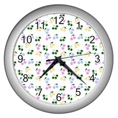 Green Cherries Wall Clocks (silver)  by snowwhitegirl