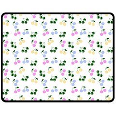 Green Cherries Double Sided Fleece Blanket (medium)  by snowwhitegirl