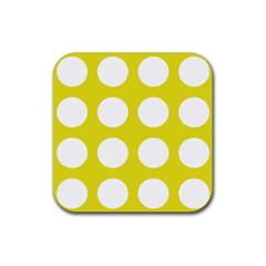 Big Dot Yellow Rubber Square Coaster (4 Pack)