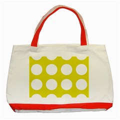 Big Dot Yellow Classic Tote Bag (red) by snowwhitegirl