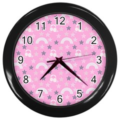 Music Star Pink Wall Clocks (black) by snowwhitegirl