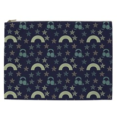 Music Stars Dark Teal Cosmetic Bag (xxl)