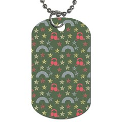 Music Stars Grass Green Dog Tag (two Sides) by snowwhitegirl