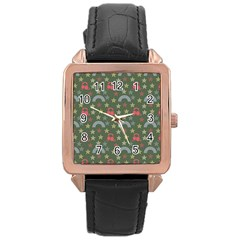Music Stars Grass Green Rose Gold Leather Watch  by snowwhitegirl