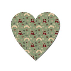 Music Stars Green Heart Magnet by snowwhitegirl
